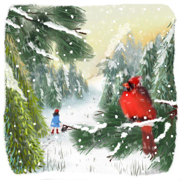 Girl walking dog and red cardinal