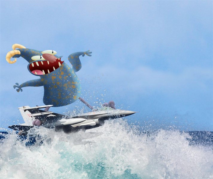 Jet Surfing Monster