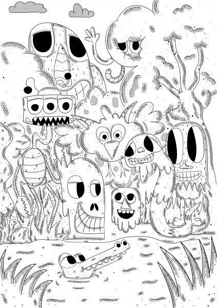 jungle creature doodle