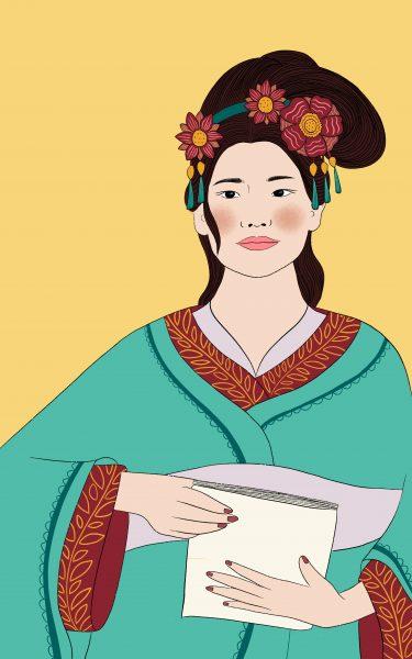 Ban Zhao, 1st Century Philosopher. Portrait for book illustration.