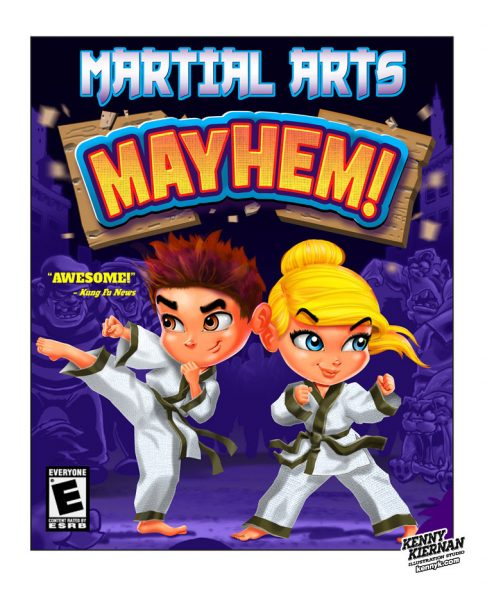 KENNY-KIERNAN-ILLUSTRATION-MARTIAL-ARTS-MAYHEM-karate-judo-taekwondo-jiujitsu-biy-girl-fight-cartoon-commercial-illustrator-toy-board-videogame-game-boardgame-children-character-design