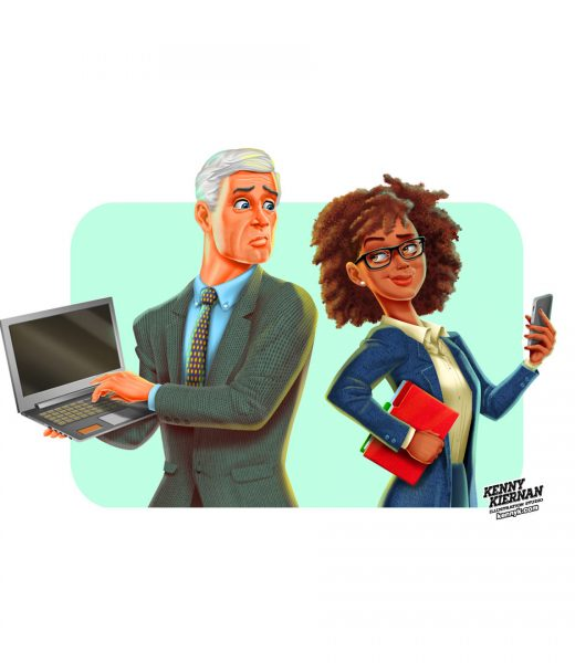 KENNY-KIERNAN-ILLUSTRATION-iphone-vs-laptop-character-design-editorial-business-man-woman-african-american