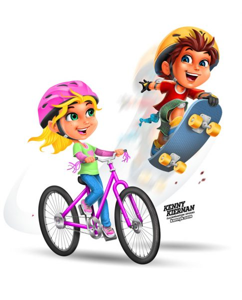 KENNY-KIERNAN-ILLUSTRATION-kids-playing-skateboard-bike-bicycle-boy-girl-safety-helmet-cartoon-commercial-illustrator-toy-board-game-boardgame-novelty-children-character-design