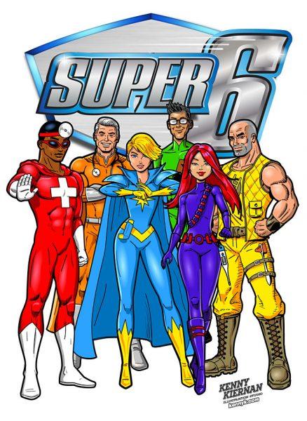 Kenny-Kiernan-Illustration-Studio-SUPER-6-Superhero-TEAM-PHARMA-PHARMACEUTICAL-superhero-comic-book-strip-vector-character-advertising-publishing-illustrator-mascot-design-editorial
