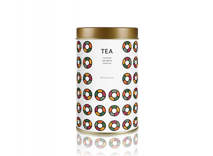 tea tin container mock-up