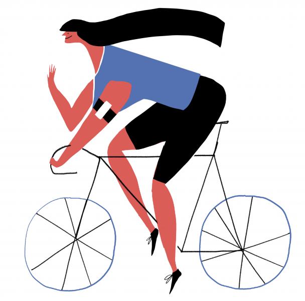 Red gal on bike cycling woman mercedes leon merchesico illustration