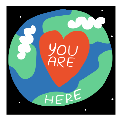 You are here world heart mercedes leon merchesico illustration