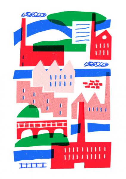 bradford city riso print stencil mercedes leon merchesico illustration
