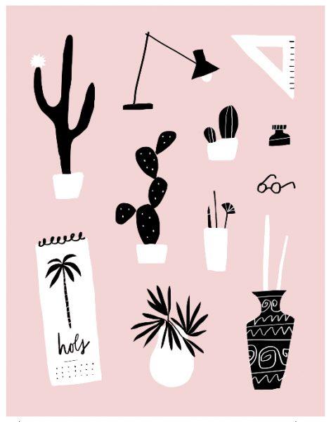 Still Life Cacti Desk