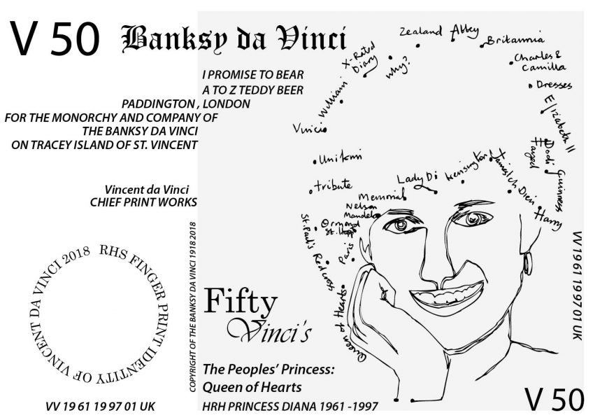 V 50 Banksy Note of HRH Princess Diana (RHS version with Finger Print ID) (2018)