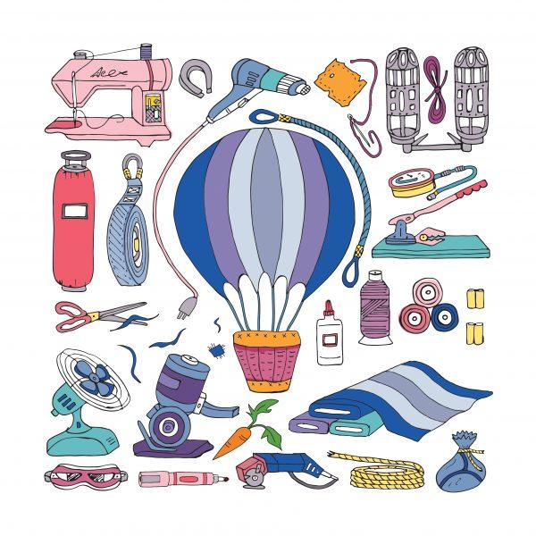 Hot Air Balloon and Tools