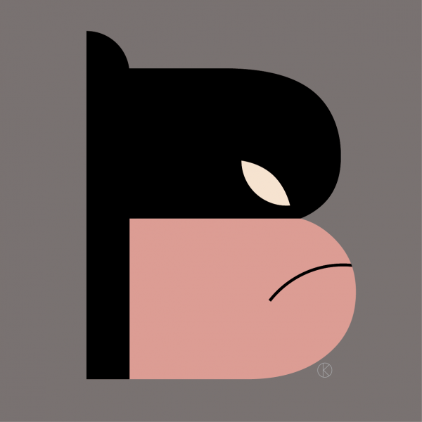 Batman as capital letter B for Corita Kent Illuminated Alphabet competition