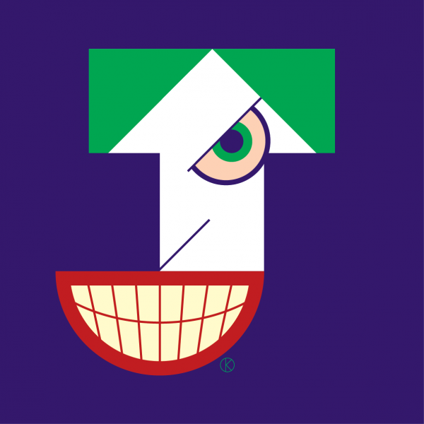 The Joker as capital letter J for Corita Kent Illuminated Alphabet competition