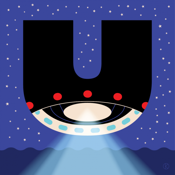 UFO for capital letter U for Corita Kent Illuminated Alphabet competition
