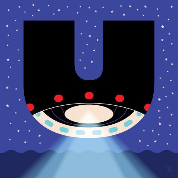 UFO for capital letter U for Corita Kent Illuminated Alphabet competition