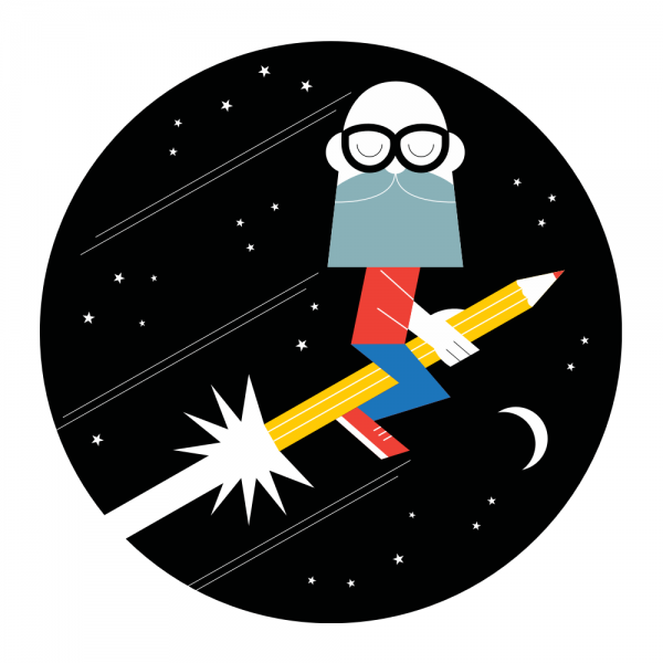 Steve Kirkendall's self portrait as a Astro-Illustrator