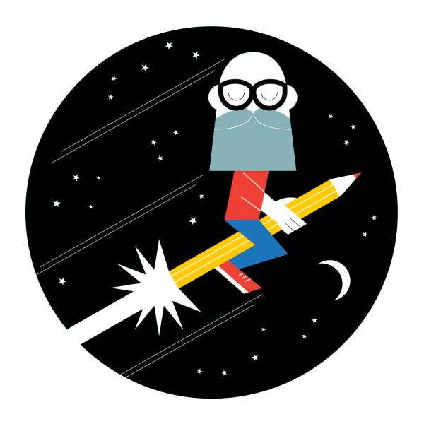 Steve Kirkendall's self portrait as a Astro-Illustrator