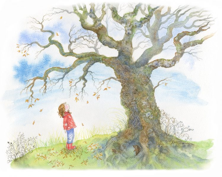 3.1.Colour. Anna looking at the leafless tree. Finished.A4.