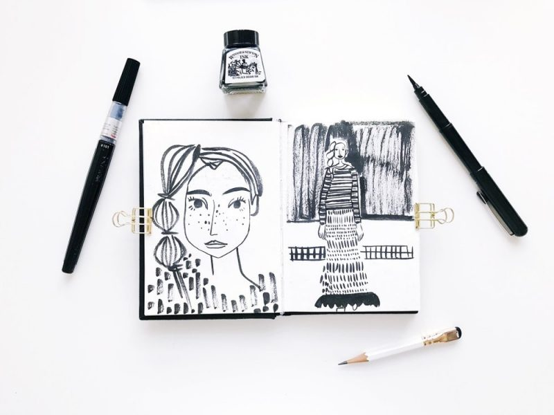 Black and white sketchbook