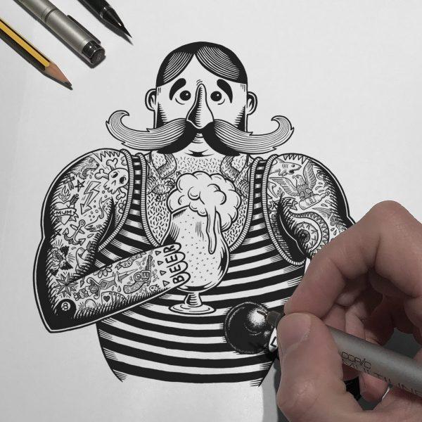 craftndraft-strongman-drawing-sticker-design-martin-marcin-reznik-10tacled-illustration-printmaking-portfolio
