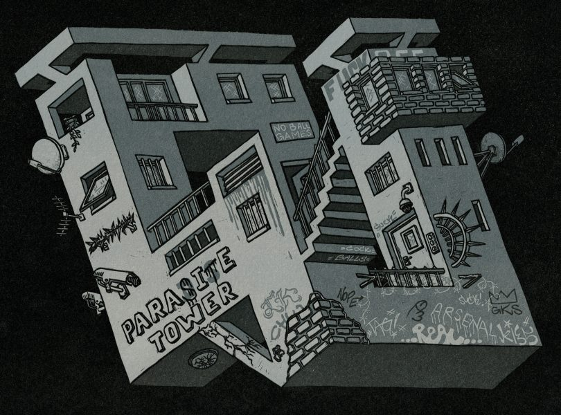 Floating House (4-colour Reduction Linocut)