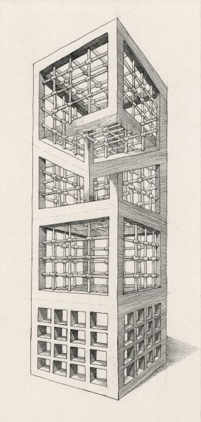 Geometry of Living - Tower 2 (Etching)
