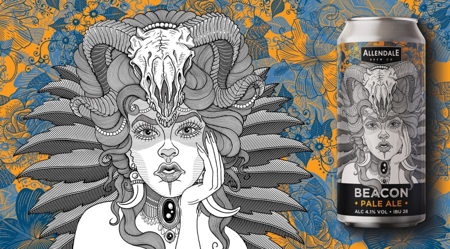 Beacon beer label design for Allendale Brewery
