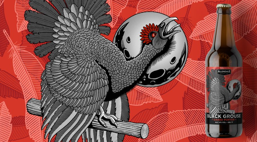 Black Grouse beer label design for Allendale Brewery