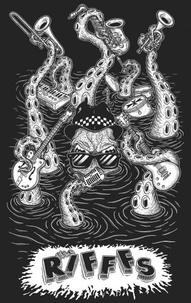T-shirt design for the Rifffs (ska band from Malta)