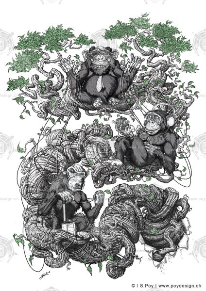 3 Monkeys Tattoo Design