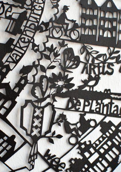 Amsterdam Paper Cut Map Detail