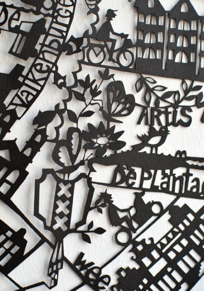 Amsterdam Paper Cut Map Detail