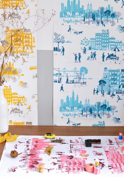 Manhattan Wallpaper Tea Towel by Julie Marabelle