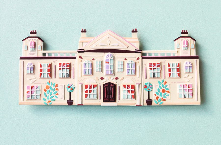 Paper cut Mansion for Jane Austen's Mansfield Park