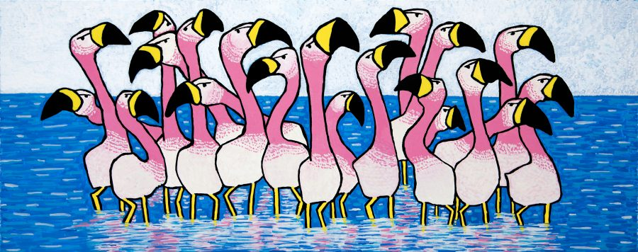 Pink Birds Paddling