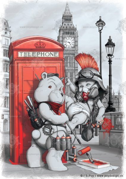 London Punker and the Red Phone Box