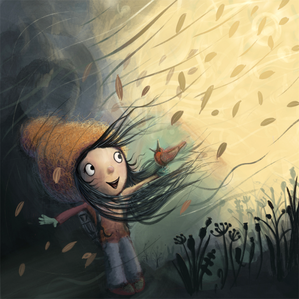 Girl in the wind illustration