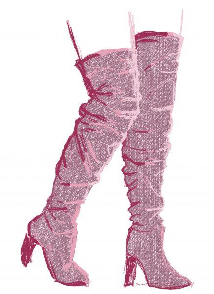 Pink Denim Boots