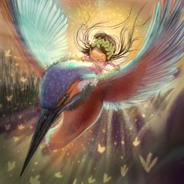 Fairy flying on a kingfisher