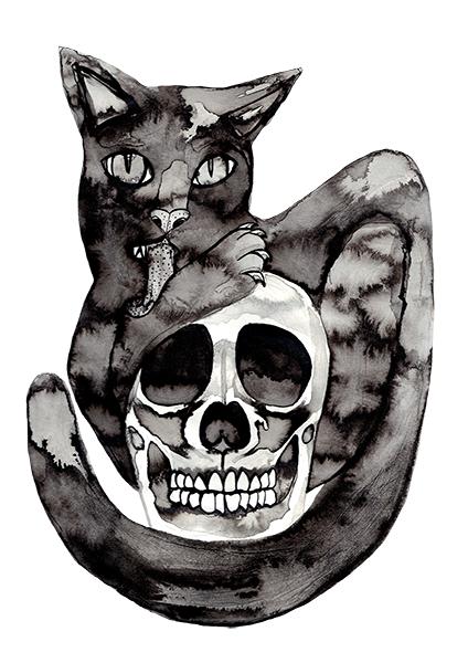 Cat and Skull
