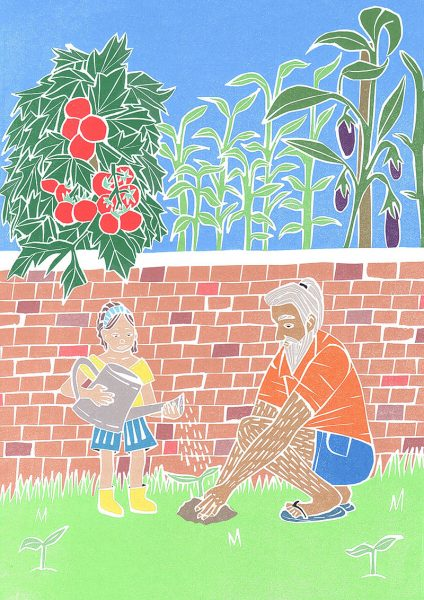 Dad Teaching Gardening To Little Girl