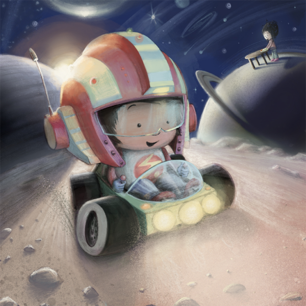 Boy in outer space illustration