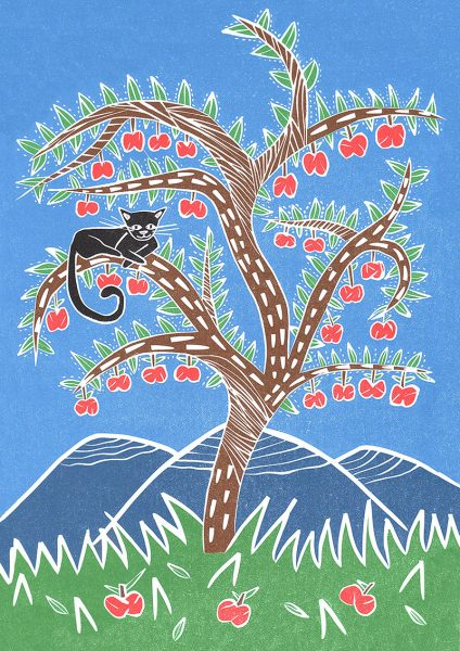 Happy Cat On Apple Tree