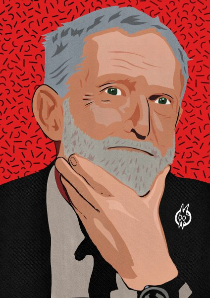 Stylised editorial portrait of Jeremy Corbyn