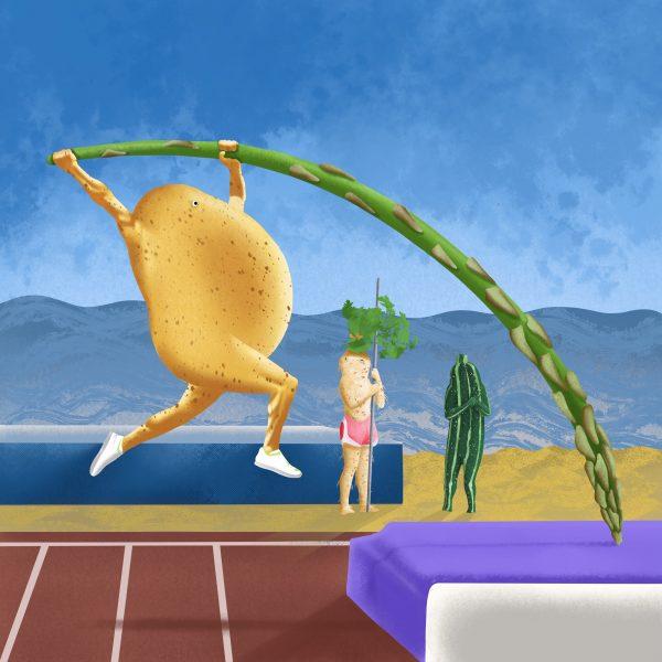 Potato pole vaulting at The Seasonal Fruit and Veggie Olympics