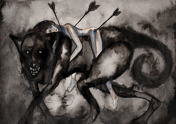 Injured Girl With Wolf