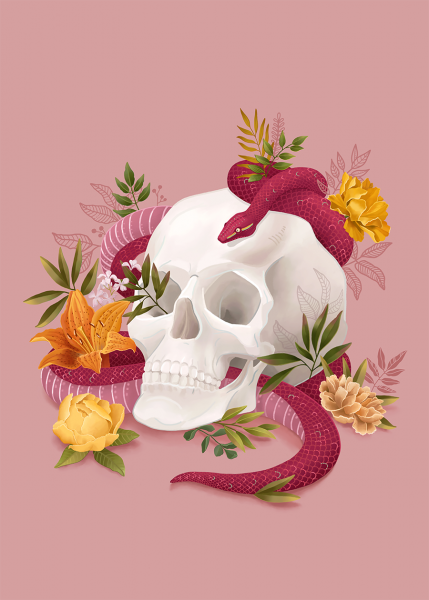 Skull and Snake - Botanical