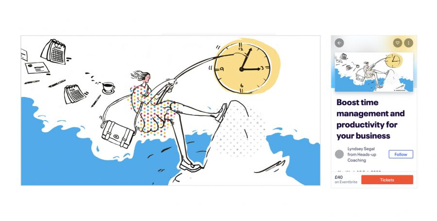 llustration for networking event and coaching session for Heads-up Coaching: 'Boost your Timemanagement'