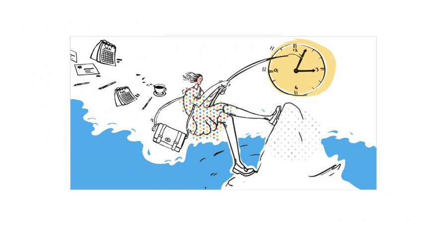 Illustration for networking event and coaching session for Heads-up Coaching: 'Boost your Timemanagement'