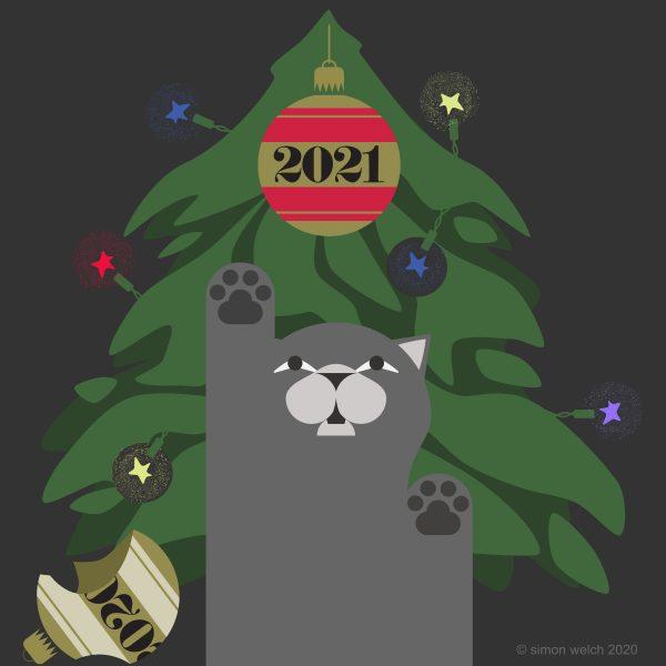 cat christmas lights:broken 2020